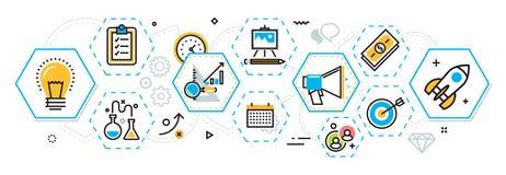 Bandera de proceso de lanzamiento y esquema del proyecto del negocio en los hexágonos e ilustración del vector