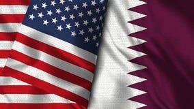 Bandera de Qatar y de los E.E.U.U. - 3D bandera del ejemplo dos libre illustration