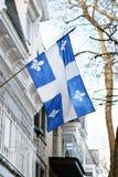 Bandera de Quebec en Montreal billowing en la brisa Fotos de archivo