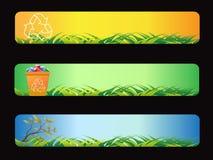 Bandera de reciclaje verde Fotografía de archivo
