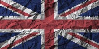Bandera de Reino Unido con el alto detalle del papel arrugado ilustración 3D stock de ilustración