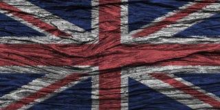 Bandera de Reino Unido con el alto detalle del viejo fondo de madera stock de ilustración