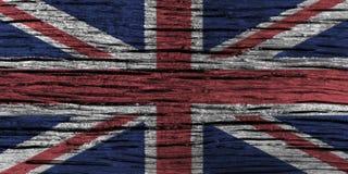Bandera de Reino Unido con el alto detalle del viejo fondo de madera ilustración del vector