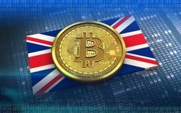 bandera de Reino Unido del bitcoin 3d Foto de archivo libre de regalías