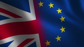 Bandera de Reino Unido y de unión europea que agita 3d Animación del lazo
