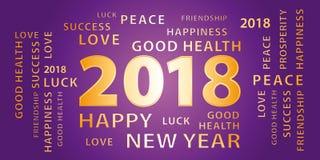 Bandera de 2018 saludos de la Feliz Año Nuevo Púrpura y oro libre illustration
