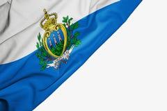 Bandera de San Marino de la tela con el copyspace para su texto en el fondo blanco libre illustration