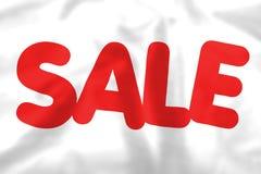 Bandera de seda blanca de la venta con el texto rojo ilustración del vector
