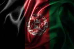 Bandera de seda del satén de Afganistán ilustración del vector