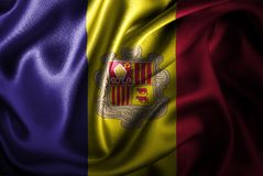 Bandera de seda del satén de Andorra ilustración del vector