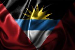 Bandera de seda del satén de Antigua y de Barbuda stock de ilustración