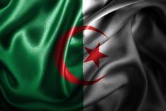 Bandera de seda del satén de Argelia stock de ilustración