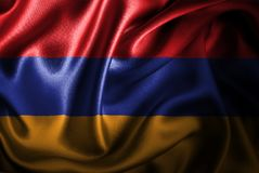 Bandera de seda del satén de Armenia libre illustration
