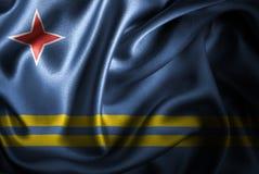 Bandera de seda del satén de Aruba stock de ilustración