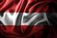 Bandera de seda del satén de Austria stock de ilustración