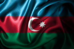 Bandera de seda del satén de Azerbigan ilustración del vector