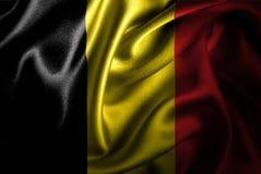 Bandera de seda del satén de Bélgica stock de ilustración