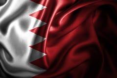 Bandera de seda del satén de Bahrein stock de ilustración