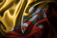 Bandera de seda del satén de Bhután stock de ilustración