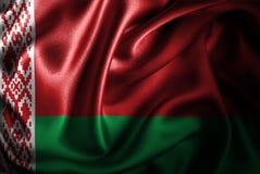 Bandera de seda del satén de Bielorrusia stock de ilustración