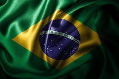 Bandera de seda del satén del Brasil ilustración del vector