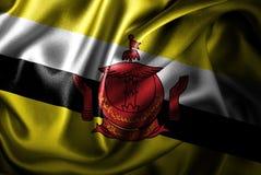 Bandera de seda del satén de Brunei ilustración del vector