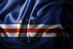 Bandera de seda del satén de Cabo Verde ilustración del vector