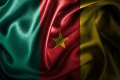 Bandera de seda del satén del Camerún stock de ilustración
