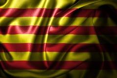 Bandera de seda del satén de Cataluña stock de ilustración
