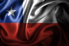 Bandera de seda del satén de Chile stock de ilustración