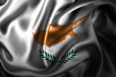 Bandera de seda del satén de Chipre stock de ilustración