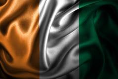 Bandera de seda del satén de Costa de Marfil stock de ilustración