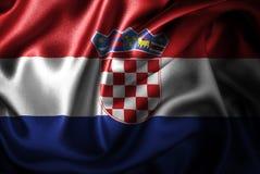 Bandera de seda del satén de Croacia stock de ilustración