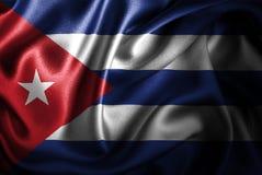 Bandera de seda del satén de Cuba stock de ilustración