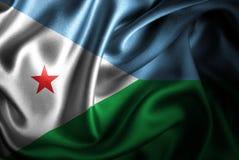 Bandera de seda del satén de Djibouti stock de ilustración