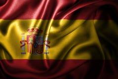 Bandera de seda del satén de España stock de ilustración