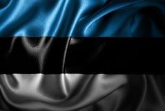 Bandera de seda del satén de Estonia ilustración del vector