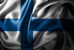 Bandera de seda del satén de Finlandia ilustración del vector