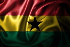 Bandera de seda del satén de Ghana stock de ilustración