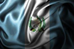Bandera de seda del satén de Guatemala ilustración del vector