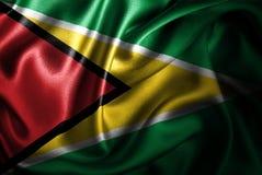 Bandera de seda del satén de Guyana ilustración del vector
