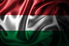 Bandera de seda del satén de Hungría ilustración del vector