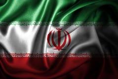 Bandera de seda del satén de Irán stock de ilustración