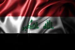 Bandera de seda del satén de Iraq stock de ilustración