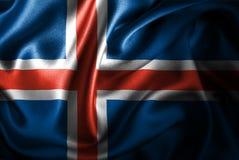Bandera de seda del satén de Islandia stock de ilustración