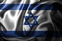 Bandera de seda del satén de Isreal ilustración del vector