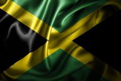 Bandera de seda del satén de Jamaica ilustración del vector