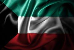 Bandera de seda del satén de Kuwait ilustración del vector