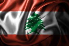 Bandera de seda del satén de Líbano ilustración del vector