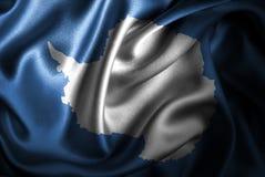 Bandera de seda del satén de la Antártida stock de ilustración